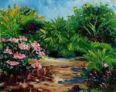 Lori's Stormy Art and Daily Paintings: Daily Painting 1022 Azaleas in Heathcote Botanical Gardens Plein Air Painting Demo