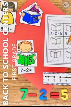 These back to school centers for first grade centers are a great ice breaker for your students at the beginning of the school year! Not only do they get to work on fun, hands-on, and interactive activities, but they get to work together with their classmates. These back to school centers include 20 different math and literacy activities. I also have them available for kindergarten too!