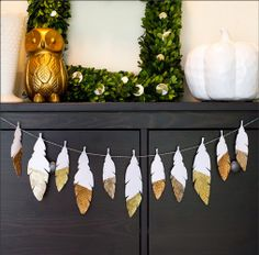 dipped feather garland fun project!