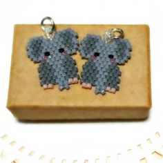 Seed Bead Elephant Charm - Jungle Animal Beaded Jewelry - Brick Stitch Beading