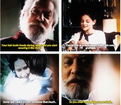 """SPOILERS: Well i am not surprise to see Snow granddaughter because i read some spoilers that she was cast as well though no confirmation...anyway i think she was cast so they can show how snow was convinced that katniss really love peeta for real and not just acting and this kid proves it by saying it to her grandfather..."""