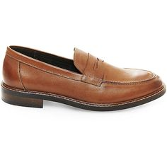 Steve Madden Men's Leadder Loafers ($60) ❤ liked on Polyvore featuring men's fashion, men's shoes, men's loafers, tan leather, mens leather shoes, mens dress shoes, mens penny loafer shoes, mens dress loafers shoes and mens leather loafer shoes