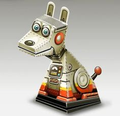 Tektonten Papercraft - Free Papercraft, Paper Models and Paper Toys: Robot Dog Illusion Papercraft