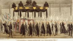 Funeral procession of King George III. Ten years after mental illness forced him to retire from public life, King George III, the British king who lost the American colonies died at the age of 82. Picture: Museum of London