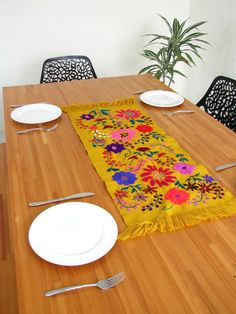 Zina Table Runner Mustard | Chiapas Bazaar | Handmade Blouses, Accessories & Home Decor by Mexican Artisans