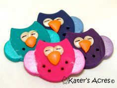 OWL BUTTONS - Polymer Clay Set of 4  MulitColored Whimsical Handmade Buttons by KatersAcres, $4.75