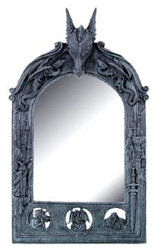Gothic Dragon Furniture | Gothic Arched Mirror with Dragon Engraving Artwork