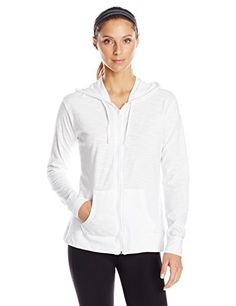 This Hanes women's slub shirred hoodie has all of the classic hoodie features in a lightweight textured-looking slub fabric....