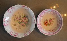 $18 for Two Germany Bowls Pink Flowers Lusterware by SongSparrowTreasures