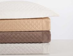 "The 1/2"" diamond pattern quilted on this Egyptian cotton, Italian sateen makes for a stylish accent in any bedroom."