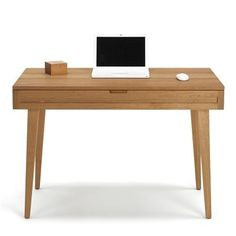Woodland Collection 44 Solid Cherry Modern Desk With Wood Legs Officedesk