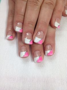 Pink and white French gel nails. These turned out awesome. All done with non-toxic and odorless gel.