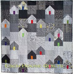 Third Street Neighborhood PDF quilt pattern Make a fast, easy and fun neighborhood! I love house quilts, but most of them have too many pieces House Quilt Patterns, House Quilt Block, Quilt Blocks, Quilting Patterns, Circle Quilt Patterns, Mini Quilts, Small Quilts, Quilt Inspiration, Modern Quilting Designs
