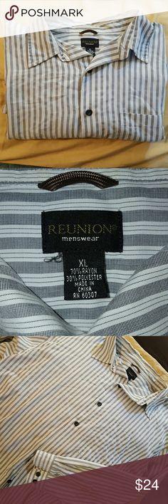 ?? NWOT Men's Dress Shirt NWOT Reunion menswear collared button up shirt. Black and white stripe. Reunion menswear Shirts Dress Shirts