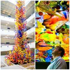 Fireworks of Glass: the gorgeous 34-foot tower made of colorful swirling glass by Dale Chihuly at The Children's Museum of Indianapolis. Add this to your must-see travel bucket list.