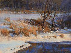 Winter Evening Serenade by Barbara Jaenicke Pastel ~ 12 x 16 Pastel Landscape, Contemporary Landscape, Winter Landscape, Watercolor Landscape, Painting Snow, Winter Painting, Landscape Drawings, Landscape Paintings, Landscapes