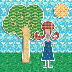 Tree and person (patterned fills) (Illustrator and Photoshop)