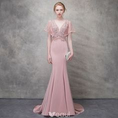 Chic / Beautiful Blushing Pink Evening Dresses 2018 Trumpet / Mermaid Beading Crystal Pearl V-Neck Backless Short Sleeve Sweep Train Formal Dresses Blush Pink Prom Dresses, Mermaid Prom Dresses, Wedding Dresses, Pink Evening Dress, Formal Evening Dresses, Grad Dresses Short, Robes D'occasion, Cheap Party Dresses, Occasion Dresses