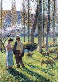 "Henri Martin (1.793-1.882) Pintor francés postimpresionista. ""Los Amantes""."
