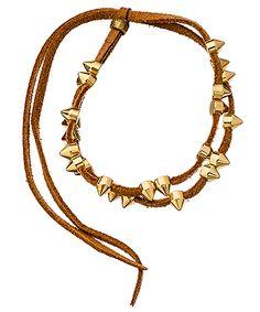 Serefina Tan Suede Gold Spike Bracelet  Price: $35.00