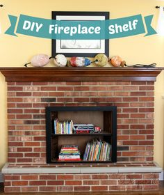 A fireplace makeover idea that is simple and converts an unused fireplace into useable space.