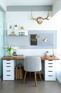 the best ikea hacks. This desk made out of 2 drawer units with wood topper is amazing.