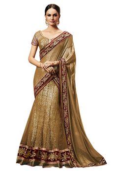 #Golden #Net And #Raw #Silk #Lehenga #Style #Saree #nikvik #usa #australia #bridal #wedding #womenclothing #canada #wedding #womenfashion #fashion #sylish #lehengastylesaree