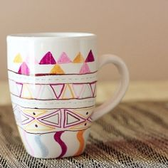 Using colored sharpies and aztec pattern inspirations, create these charming mugs in under an hour!