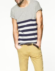 PLAIN STRIPED T-SHIRT - T-shirts - Man - ZARA