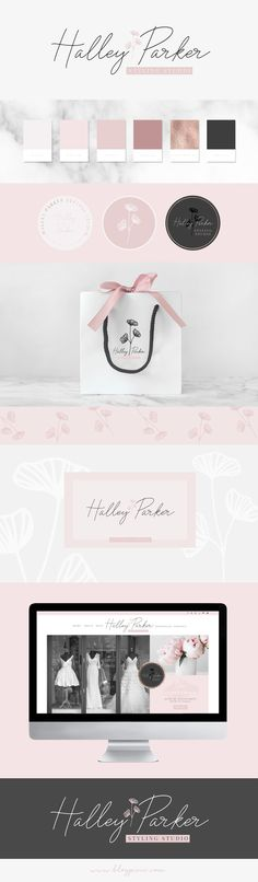 Floral brand design identity and inspiration by Blog Pixie. Packaging, site layout and logo ideas, fonts, hand-drawn illustrations and a pretty color palette. Find the Floriana Creator Studio on Creative Market.