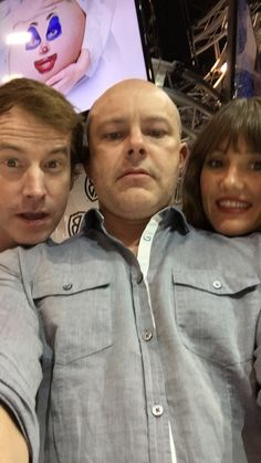Selfie from the cast of #ChildrensHospital! Rob Huebel, Rob Corddry, and Erinn Hayes. #WBSDCC