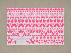 Banquet Atelier & Workshop — Neon Pink Valentines card - Animals and botanicals in folk pattern -