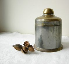 ANTIQUE BRASS TOBACCO Jar Humidor 1920s by SweetDaphneVintage