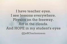 I can't say i think of physics....however I DO always see things from a teacher perspective!