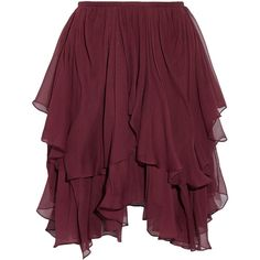 Chloé's mini skirt is made from layers of featherweight silk-georgette - the asymmetric tiers make it flutter and sway as you walk. It has a soft jersey lining…