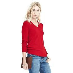 Banana Republic Button Back Vee Pullover Sweater ($88) ❤ liked on Polyvore featuring tops, sweaters, modern red, petite, red top, red long sleeve top, red v neck sweater, banana republic sweaters and red pullover sweater