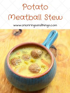 Potato Meatball Crockpot Stew is a comforting soup chock full of meatballs, potatoes, celery and baby carrots in a rich, creamy broth