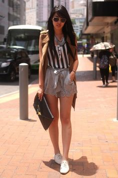 Loose Shorts + Striped Shirt + vest + sneakers