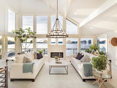HGTV's Former Dream Home on the Washington Coast Is Now for Sale - Coastal Living Coastal Living Rooms, House Design, Decor, Pool Houses, Home, Floor To Ceiling Windows, Hgtv Decorating, Story House, Family Room