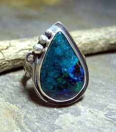 Midnight Forest - Handmade Chrysocolla ring in sterling silver with Azurite Malachite     ...from Lavender Cottage Jewelry