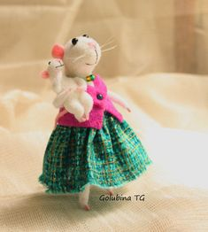 Needle felted Mouse White mouse Birthday Gift by WorkshopTatyanas