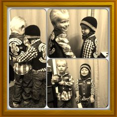 Opie and Jax Sons of Anarchy kids costumes! Will never be able to too these :) Jax is yielding a snow globe to avenge his fallen friend teehee