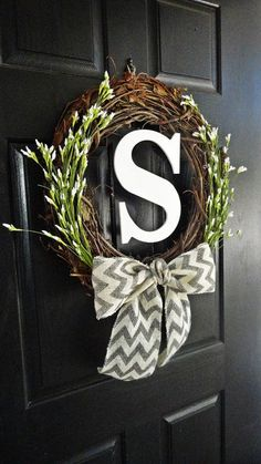 Chevron Burlap, White Wildflower Buds, and White Monogram Wreath for Spring and Summer or Wedding White Cherry Blossom, Cherry Blossom Flowers, Monogram Wreath, Diy Wreath, Chevron Burlap Wreaths, Felt Wreath, Summer Door Wreaths, Wreaths For Front Door, Front Door Decor