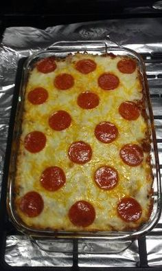 I made this using Turkey Italian sausage and Turkey Pepperoni in hopes of cutting down on the fat. We could not tell the difference in taste between the turkey products and beef or pork. And it is very good and very easy. Serve with Italian bread and green salad. Enjoy
