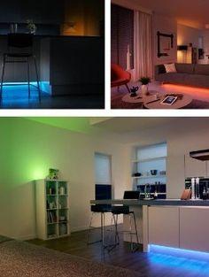 Per App steuerbare Lichter für Zuhause Corner Desk, Flat Screen, App, Furniture, Home Decor, Lights, Asylum, Ad Home, Homemade Home Decor