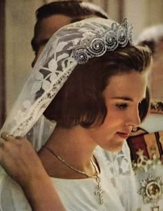 Princess Anne Marie of Denmark on her wedding day to (then) Prince Constantin of Greece