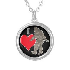 I LOVE BIGFOOT 1 SILVER PLATED NECKLACE - jewelry jewellery unique special diy gift present