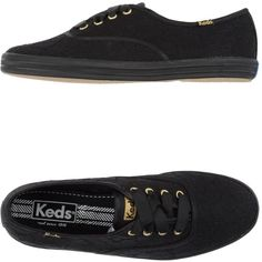 Keds Sneakers (495 SEK) ❤ liked on Polyvore featuring shoes, sneakers, black, lace sneakers, black shoes, keds footwear, keds and flat shoes
