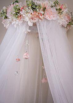 Hangs from Ceiling Round Canopy BackdropFloral Crib Nursery Room, Girl Nursery, Girls Bedroom, Baby Room, Bedroom Ideas, Master Bedroom, Wedding Shower Gifts, Baby Shower Gifts, Wedding Gifts