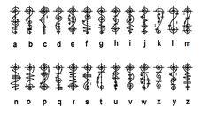 The Vulcan Alphabet, intended to be written vertically, not horizontally. Alphabet Code, Alphabet Symbols, Star Trek Tattoo, Fictional Languages, Alphabet Tattoo Designs, Skull Rose Tattoos, Different Alphabets, Rune Tattoo, Graffiti Lettering Fonts